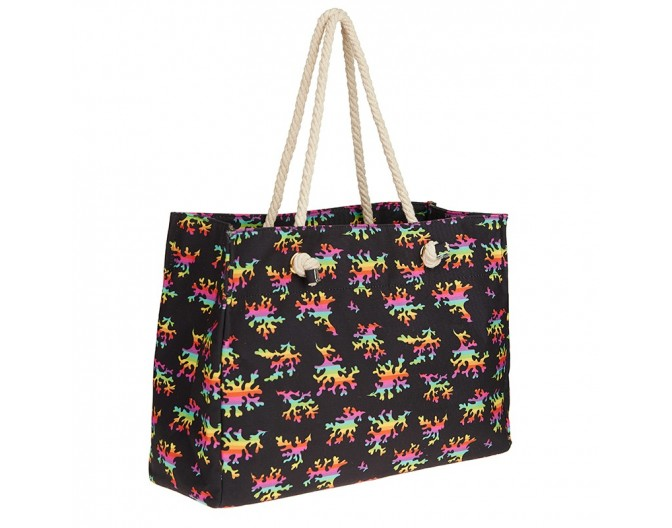 0016 beach bag rainbow corals black