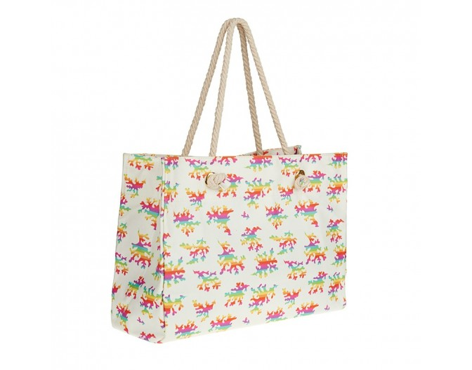 0016 beach bag rainbow corals white