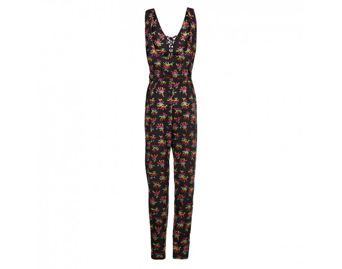 0016 jumpsuit rainbow corals black