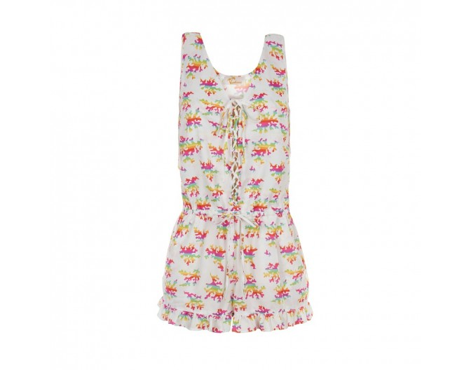 0016 playsuit rainbow corals white