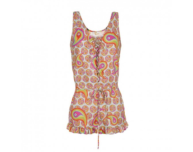 0016 playsuit rainbow paisley